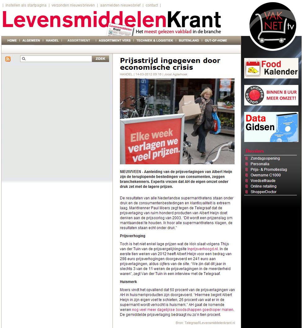 Levensmiddelenkrant.nl: Prijsstrijd ingegeven door economische crisis