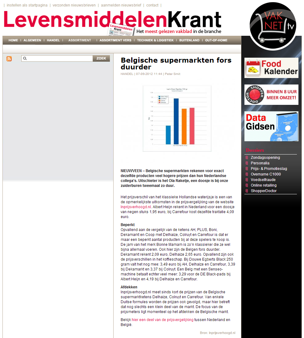 Levensmiddelenkrant.nl: Belgische supermarkten fors duurder