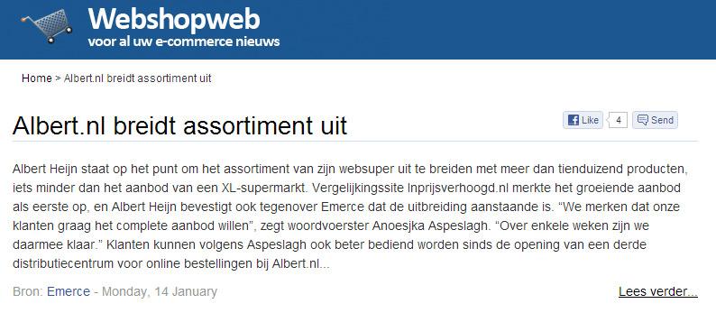 Webshopweb.nl: Albert.nl breidt assortiment uit