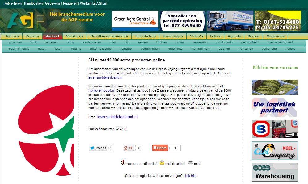 AGF.nl: AH.nl zet 10.000 extra producten online
