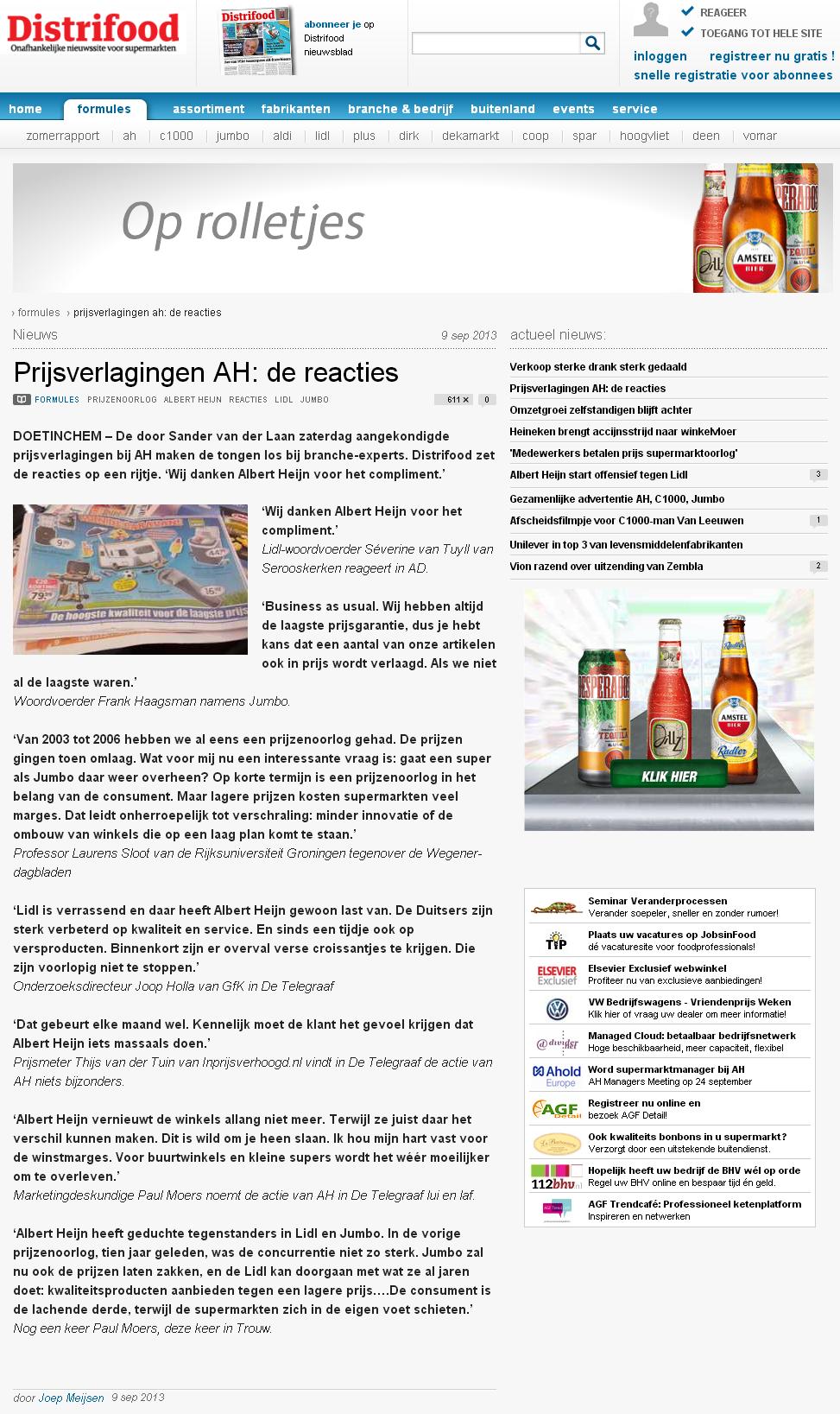 Distrifood.nl: Prijsverlagingen AH: de reacties