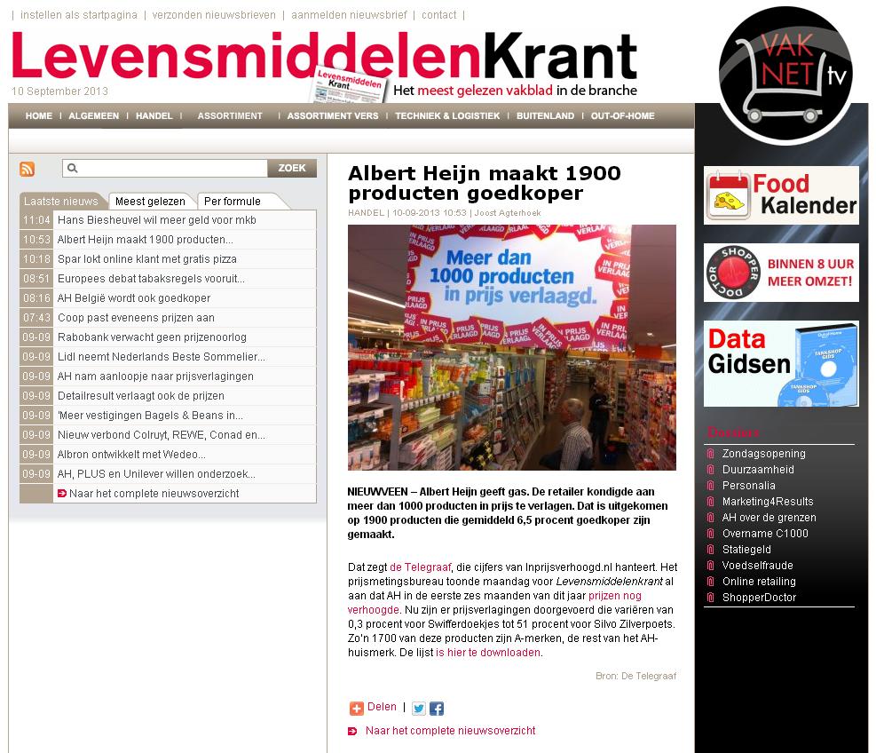 Levensmiddelenkrant.nl: Albert Heijn maakt 1900 producten goedkoper
