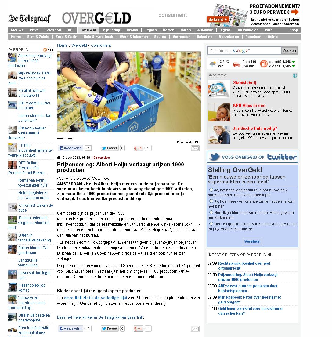 Telegraaf.nl: Prijzenoorlog: Albert Heijn verlaagt prijzen 1900 producten