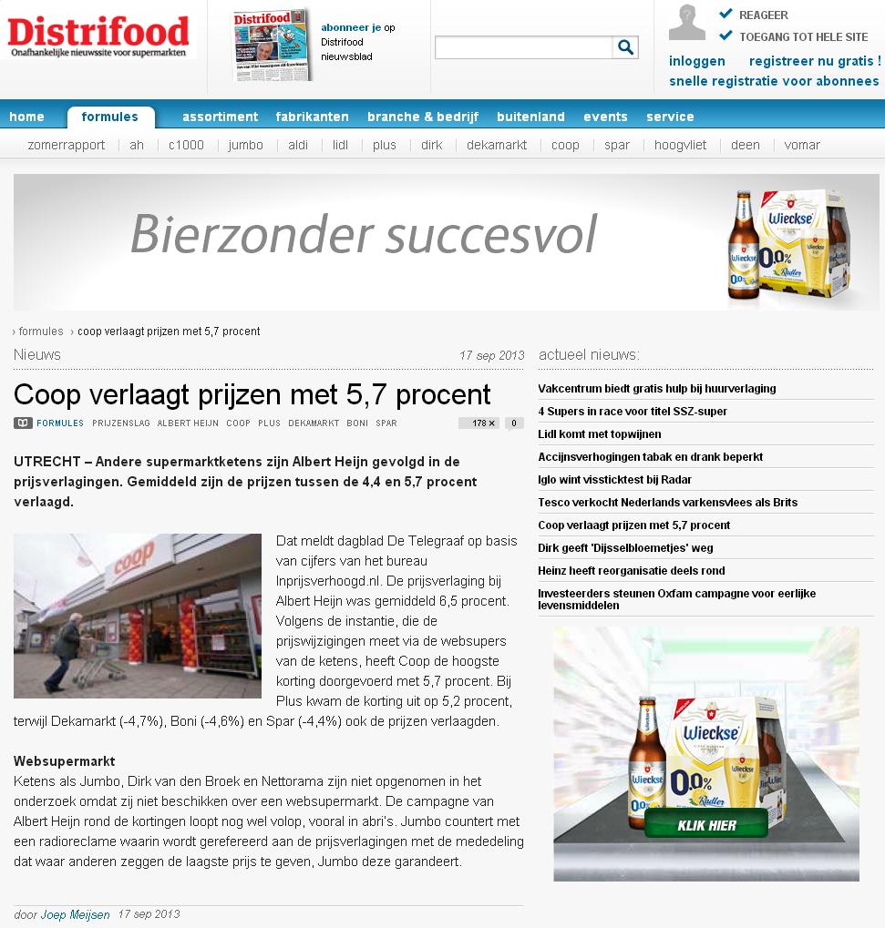 Distrifood.nl: Coop verlaagt prijzen met 5,7 procent