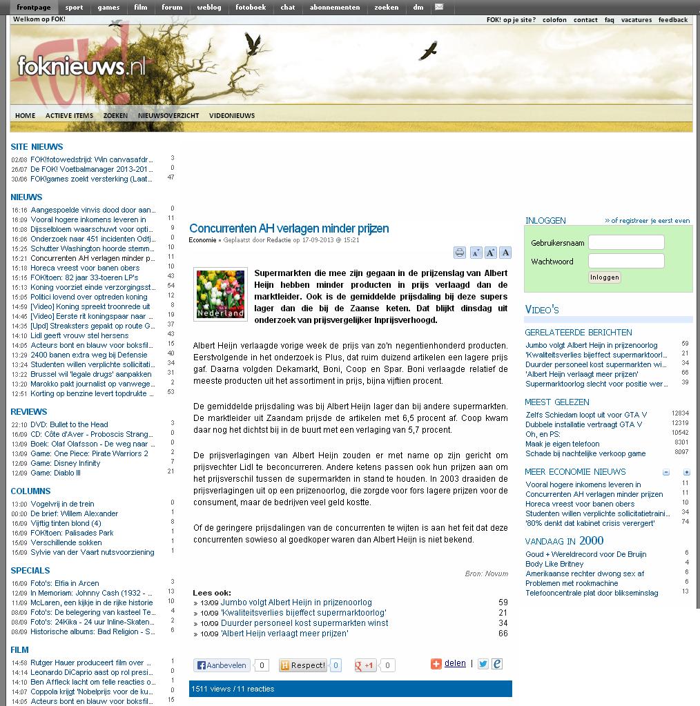 Foknieuws.nl: Concurrenten AH verlagen minder prijzen