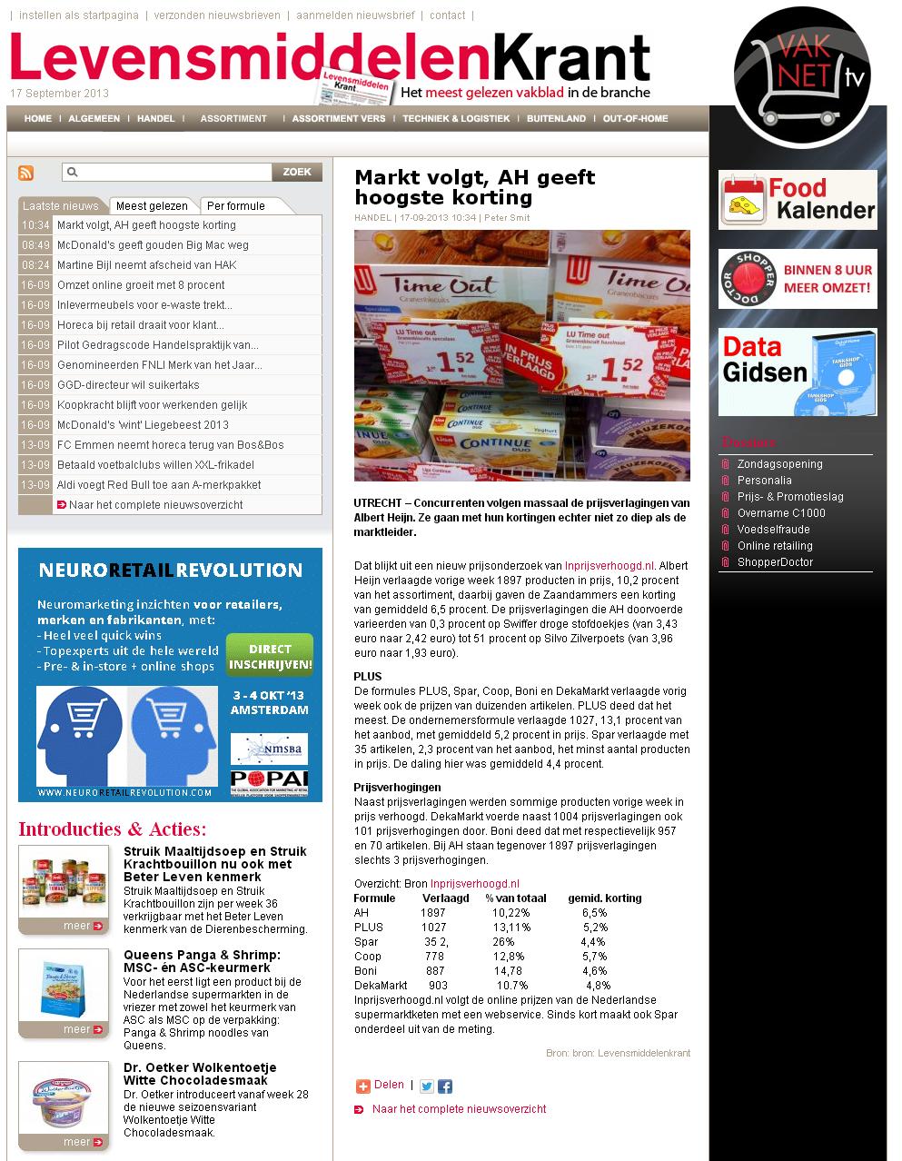 Levensmiddelenkrant.nl: Markt volgt, AH geeft hoogste korting
