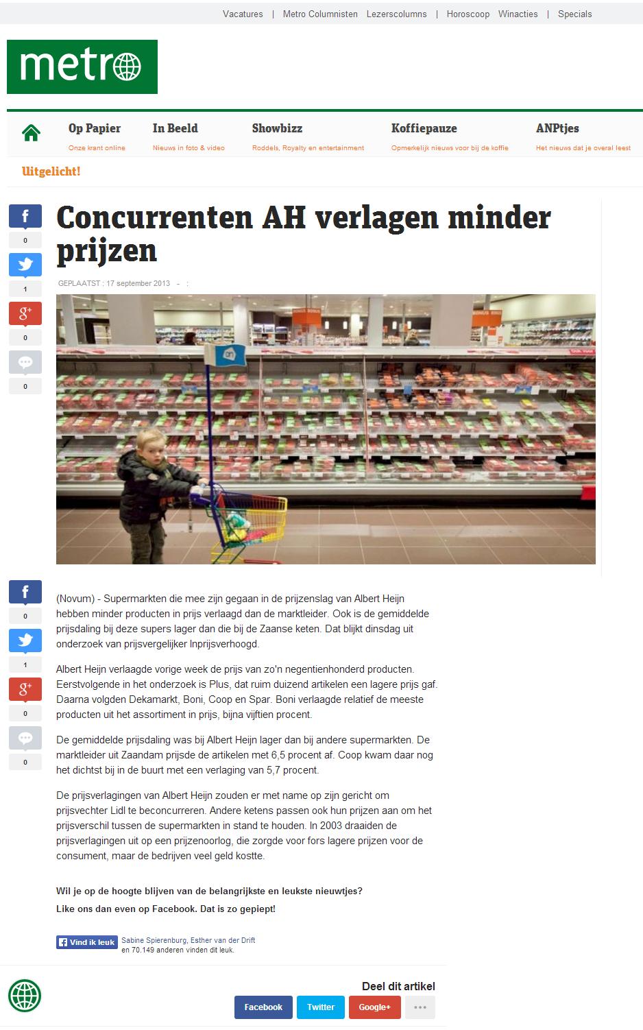 Metronieuws.nl: Concurrenten AH verlagen minder prijzen