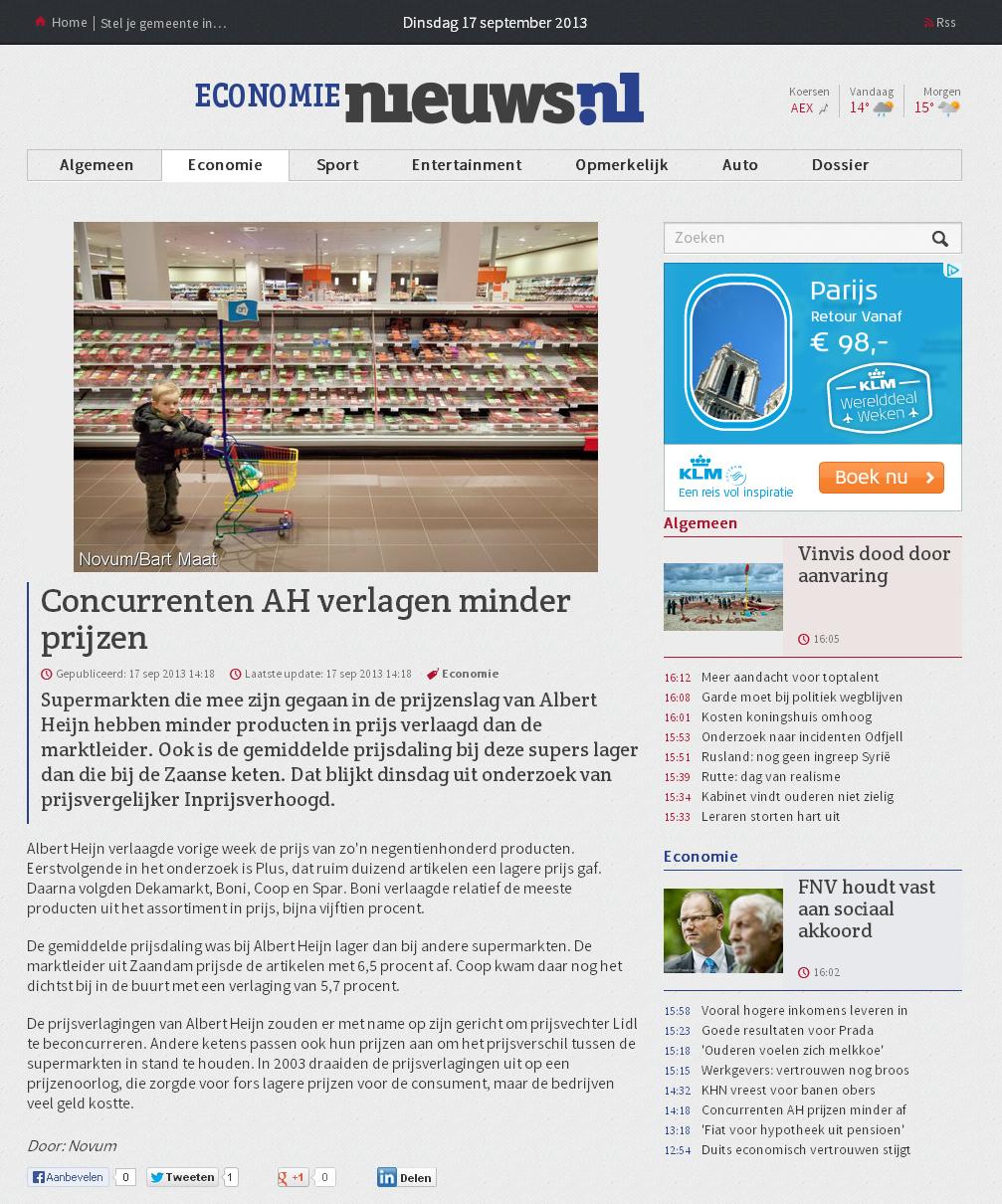 Nieuws.nl: Concurrenten AH verlagen minder prijzen