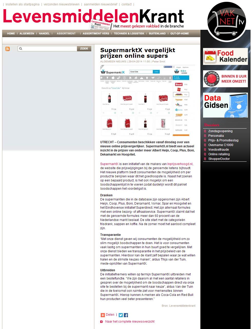 Levensmiddelenkrant.nl: SupermarktX vergelijkt prijzen online supers