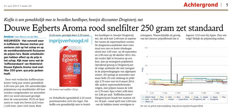 Levensmiddelenkrant: Douwe Egberts Aroma rood snelfilter 250 gram zet standaard