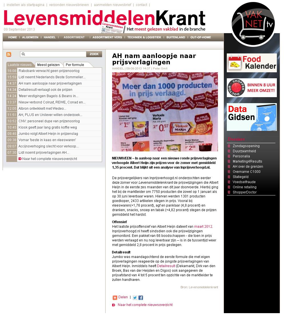 Levensmiddelenkrant.nl: AH nam aanloopje naar prijsverlagingen