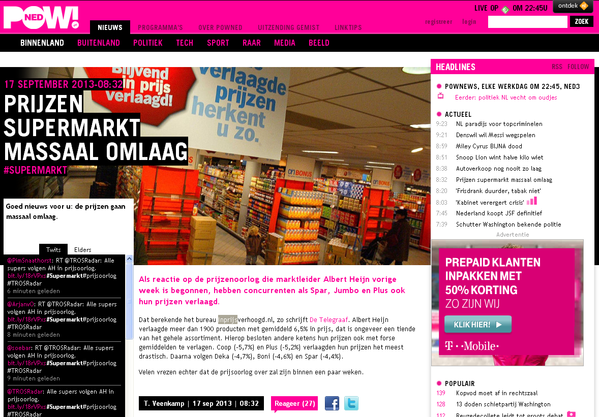 Powned.tv: Prijzen supermarkt massaal omlaag