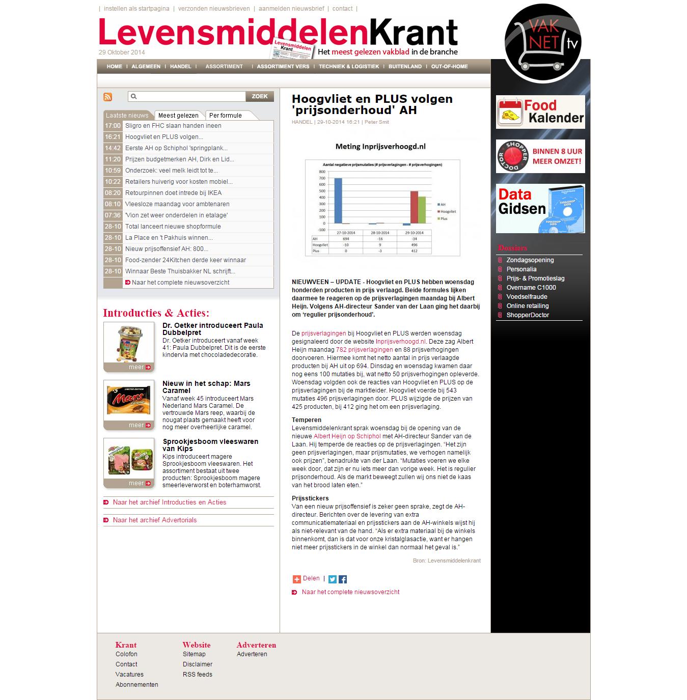 Levensmiddelenkrant.nl: Hoogvliet en PLUS volgen 'prijsonderhoud' AH